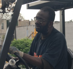 Maurice T on Forklift outside